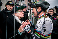 race winner & World Champion Annemiek Van Vleuten (NED/Mitchelton Scott) is greeted by her mom after the finish<br /> <br /> 12th Women's Omloop Het Nieuwsblad 2020 (BEL)<br /> Women's Elite Race <br /> Gent – Ninove: 123km<br /> <br /> ©kramon