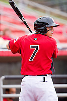 Jacob Skole #7 of the Hickory Crawdads waits for his turn to hit against the Greensboro Grasshoppers at L.P. Frans Stadium on May 18, 2011 in Hickory, North Carolina.   Photo by Brian Westerholt / Four Seam Images