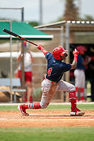 GCL Cardinals Francisco Hernandez (4) at bat during a Gulf Coast League game against the GCL Marlins on August 12, 2019 at the Roger Dean Chevrolet Stadium Complex in Jupiter, Florida.  GCL Marlins defeated the GCL Cardinals 9-2.  (Mike Janes/Four Seam Images)
