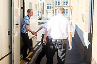 Friday 26 May 2017<br /> Pictured: Richard Punchard arrives at Swansea Magistrates Court.<br /> Re: Richard Punchard has appeared before Magistrates Court been charged following an incident at Swansea Quadrant shopping centre on Wednesday.<br /> The 21-year-old has been charged with placing an article with intent, a bomb hoax.
