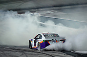 #11: Denny Hamlin, Joe Gibbs Racing, Toyota Camry FedEx Freight celebrates after winning