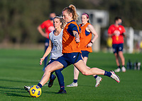 ORLANDO, FL - JANUARY 21: Samantha Mewis #3 of the USWNT takes a shot during a training session at the practice fields on January 21, 2021 in Orlando, Florida.