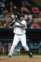 Lakeland Flying Tigers second baseman Javier Betancourt (7) at bat during a game against the Tampa Yankees on April 9, 2015 at Joker Marchant Stadium in Lakeland, Florida.  Tampa defeated Lakeland 2-0.  (Mike Janes/Four Seam Images)