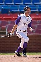 Jordan Danks #15 of the Winston-Salem Dash follows through on a home run at Wake Forest Baseball Park May 10, 2009 in Winston-Salem, North Carolina. (Photo by Brian Westerholt / Four Seam Images)