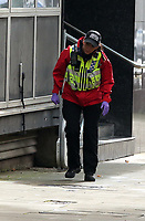 Pictured: A search police officer in Princess Street, Swansea. Friday 15 September 2017<br /> Re: Soldiers from the Welsh Guards have exercised their freedom to march through the streets of Swansea in Wales, UK.<br /> The Welsh warriors paraded with bayonets-fixed from the city centre to the Brangwyn Hall, where the Lord Mayor of Swansea took a salute.