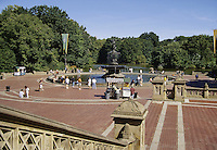 New York City, NY.  Bethesda Terrace on Central Park Lake is a popular spot in Central Park