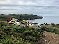 2019 07 12 The car that went over a cliff at Stumble Head, Pembrokeshire, UK.