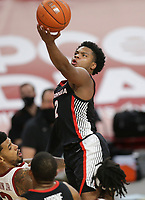 Georgia Sahvir Wheeler (2) shoots a layup, Saturday, January 9, 2021 during the second half of a basketball game at Bud Walton Arena in Fayetteville. Check out nwaonline.com/210110Daily/ for today's photo gallery. <br /> (NWA Democrat-Gazette/Charlie Kaijo)