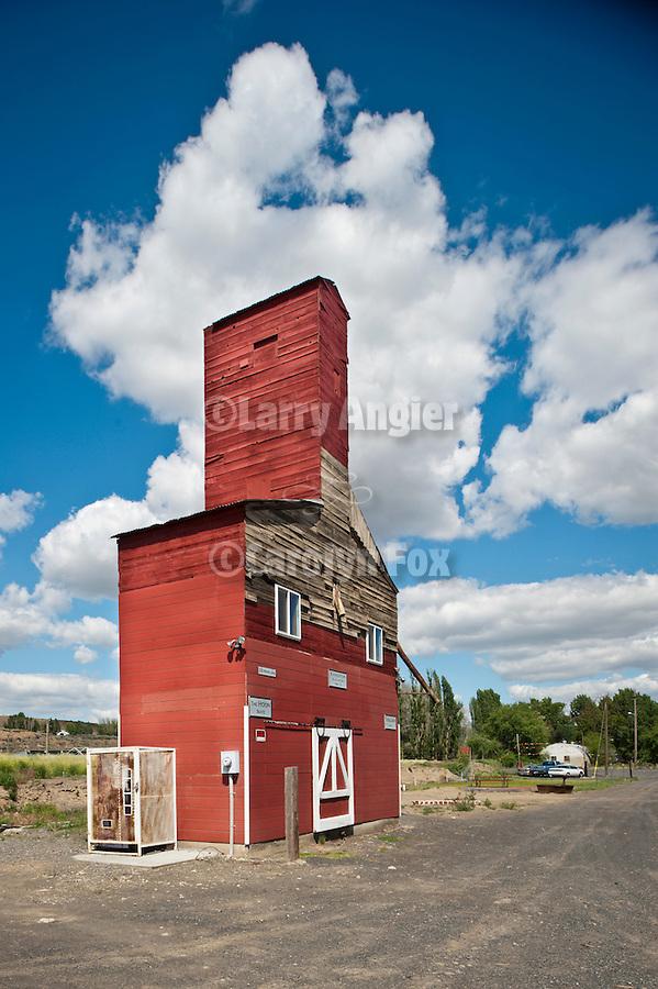 Recycled red wooden grain elevator, Kahlotus, Wash.