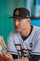 Salt Lake Bees manager Lou Marson (12) before the game against the New Orleans Baby Cakes at Smith's Ballpark on August 4, 2019 in Salt Lake City, Utah. The Baby Cakes defeated the Bees 8-2. (Stephen Smith/Four Seam Images)