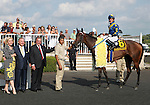 21 August 2010: Beverly Duchossois, Richard Duchossois, Ronald McAnally, ECLAIR DE LUNE and Jockey Junior Alvarado in the winner's circle winning the 21st running of the G1 Beverly D at Arlington Park in Arlington Heights, Illinois.
