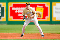 First baseman Matt Conway #25 of the Wake Forest Demon Deacons on defense against the LSU Tigers at Alex Box Stadium on February 20, 2011 in Baton Rouge, Louisiana.  The Tigers defeated the Demon Deacons 9-1.  Photo by Brian Westerholt / Four Seam Images
