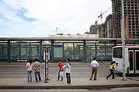 CHINA. Beijing. A bus station in the Tiantongyuan suburb north of Beijing.2009