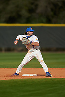 Pitt Panthers second baseman Sky Duff (3) throws to first base on a double play during the teams opening game of the season against the Indiana State Sycamores on February 19, 2021 at North Charlotte Regional Park in Port Charlotte, Florida.  (Mike Janes/Four Seam Images)
