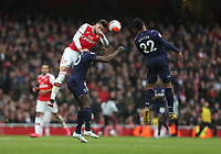 Arsenal's Pablo Mari beats West Ham United's Michail Antonio and Sebastien Haller to the ball<br /> <br /> Photographer Rob Newell/CameraSport<br /> <br /> The Premier League - Arsenal v West Ham United - Saturday 7th March 2020 - The Emirates Stadium - London<br /> <br /> World Copyright © 2020 CameraSport. All rights reserved. 43 Linden Ave. Countesthorpe. Leicester. England. LE8 5PG - Tel: +44 (0) 116 277 4147 - admin@camerasport.com - www.camerasport.com