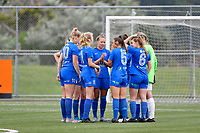 Southern Team  team huddle together on the pitch before the Handa Women's Premiership - Capital Football v Southern United at Petone Memorial Park, Wellington on Saturday 7 November 2020.<br /> Copyright photo: Masanori Udagawa /  www.photosport.nz