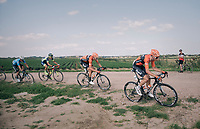 """Martijn Budding (NED/Roompot Nederlandse loterij) & Jan-Willem Van Schip (NED/Roompot-Nederlandse Loterij) leading the way<br /> <br /> Antwerp Port Epic 2018 (formerly """"Schaal Sels"""")<br /> One Day Race:  Antwerp > Antwerp (207 km; of which 32km are cobbles & 30km is gravel/off-road!)"""
