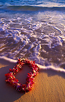 A beautiful orchid lei settles gently upon the inviting sands of an Hawaiian beach.