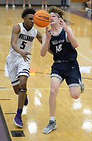 Bentonville West's Cade Packnett (right) has the ball stripped away Tuesday, Jan. 5, 2021, by Fayetteville's CJ Williams (5) during the first half of play in Bulldog Arena in Fayetteville. Visit nwaonline.com/210106Daily/ for today's photo gallery. <br /> (NWA Democrat-Gazette/Andy Shupe)