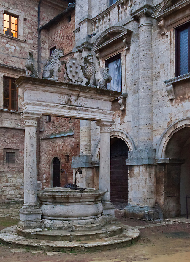 """""""Lifeblood of the Town""""<br /> Montepulciano, Italy<br /> 2015<br /> <br /> For a walled, hilltop, medieval town to survive, the community cistern was a vital resource.  Montepulciano's cistern, with the Medici crest, can be found next to the main piazza."""
