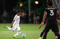 LAKE BUENA VISTA, FL - JULY 27: Latif Blessing #7 of LAFC kicks the ball during a game between Seattle Sounders FC and Los Angeles FC at ESPN Wide World of Sports on July 27, 2020 in Lake Buena Vista, Florida.