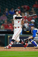 Drew Minter (8) of the Houston Cougars follows through on his swing against the against the Kentucky Wildcats in game two of the 2018 Shriners Hospitals for Children College Classic at Minute Maid Park on March 2, 2018 in Houston, Texas.  The Wildcats defeated the Cougars 14-2 in 7 innings.   (Brian Westerholt/Four Seam Images)