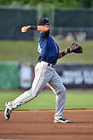 Mobile BayBears third baseman Jake Lamb #24 during a game against the Tennessee Smokies at Smokies Park on May 23, 2014 in Kodak, Tennessee. The BayBears defeated the Smokies 7-1. (Tony Farlow/Four Seam Images)