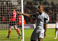 Saturday, 08 February 2014<br /> Pictured: Wayne Routledge of Swansea celebrating his opening goal<br /> Re: Barclay's Premier League, Swansea City FC v Cardiff City at the Liberty Stadium, south Wales, UK.