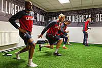 (L-R) Andre Ayew, Mike van der Hoorn, Martin Olsson and Angel Rangel exercise in the gym during the Swansea City Training at The Liberty Stadium, Swansea, Wales, UK. Thursday 26 April 2018