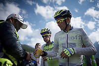 Ivan Basso (ITA/Tinkoff-Saxo) & Michael Rogers (AUS/Tinkoff-Saxo) getting some 'first aid' after finishing at 2001m (up the final climb)<br /> <br /> Giro d'Italia 2015<br /> stage 19: Gravellona Toce - Cervinia (236km)