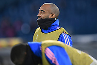 18th February 2021, Rome, Italy;  Alexandre Lacazette of Arsenal FC warms up during the UEFA Europa League round of 32 Leg 1 match between SL Benfica and Arsenal at Stadio Olimpico, Rome, Italy on 18 February 2021.