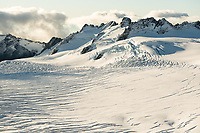 Crevasses in upper parts of Fox Glacier neve, Westland Tai Poutini National Park, UNESCO World Heritage Area, West Coast, South Westland, New Zealand, NZ