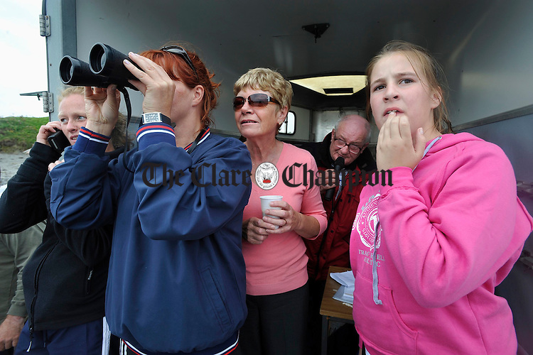 All eyes on the boats at the Leon Currach Regatta at Seafield, Quilty. Photograph by John Kelly.