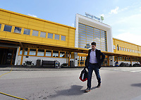 Wednesday 07 August 2013<br /> Pictured: A lone Michael Laudrup, manager for Swansea City, exits Malmo Airport terminal shortly after his arrival.<br /> Re: Swansea City FC travelling to Sweden for their Europa League 3rd Qualifying Round, Second Leg game against Malmo.
