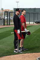 Mark Trumbo (L), Paul Goldschmidt (R) of the Arizona Diamondbacks participates in the first day of spring training workouts at Salt River Fields on February 7, 2014 in Scottsdale, Arizona (Bill Mitchell)