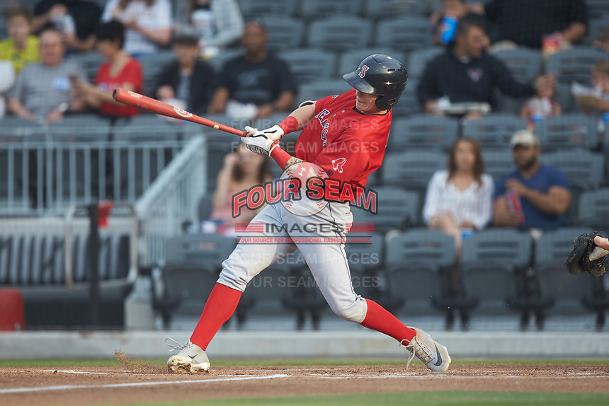 Jarren Duran (2) of the Salem Red Sox follows through on his swing against the Fayetteville Woodpeckers at Segra Stadium on May 15, 2019 in Fayetteville, North Carolina. The Woodpeckers defeated the Red Sox 6-2. (Brian Westerholt/Four Seam Images)
