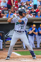 Cedar Rapids Kernels outfielder Hank Morrison (27) at bat during a Midwest League game against the Wisconsin Timber Rattlers on August 6, 2017 at Fox Cities Stadium in Appleton, Wisconsin.  Cedar Rapids defeated Wisconsin 4-0. (Brad Krause/Four Seam Images)