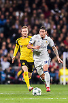 James Rodriguez of Real Madrid competes for the ball with Marco Reus of Borussia Dortmund during the 2016-17 UEFA Champions League match between Real Madrid and Borussia Dortmund at the Santiago Bernabeu Stadium on 07 December 2016 in Madrid, Spain. Photo by Diego Gonzalez Souto / Power Sport Images