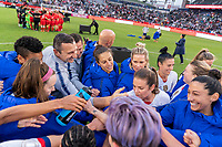 CARSON, CA - FEBRUARY 9: The USWNT huddles during a game between Canada and USWNT at Dignity Health Sports Park on February 9, 2020 in Carson, California.