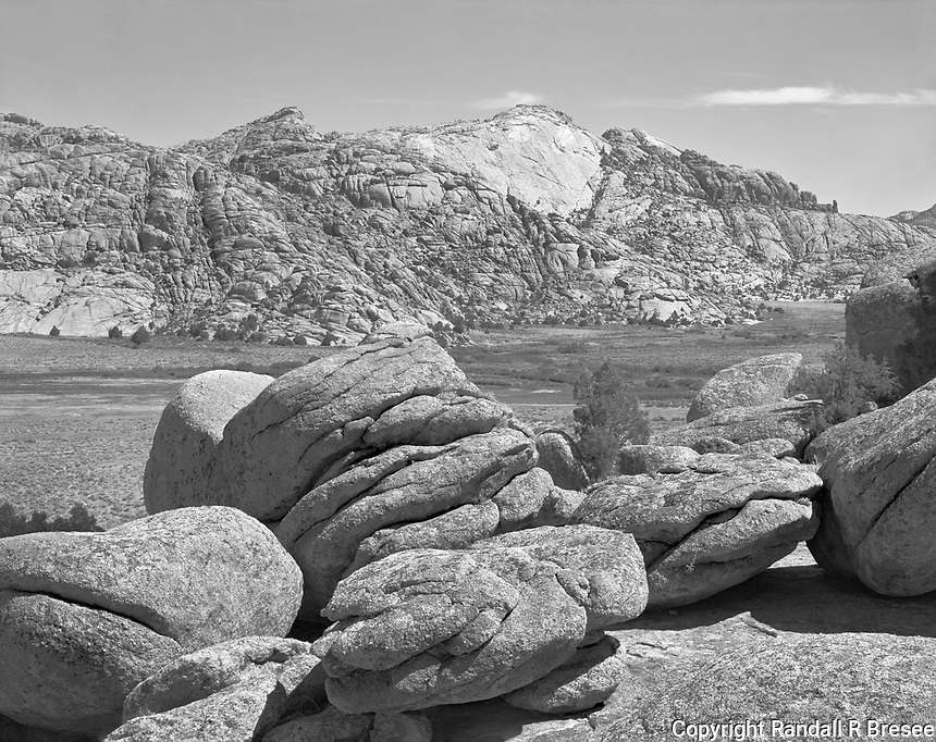 """""""Split Rock"""" <br /> Rattlesnake Mountains, Wyoming<br /> <br /> Travelers on the Oregon Trail used this rock formation in the Rattlesnake Mountains as a navigational landmark. Split Rock rises 1,000 feet and was seen for days before and after early travelers passed it. This photograph was recorded at the Split Rock Historic Site near Jeffrey City, Wyoming."""