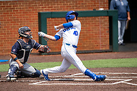 Duke Blue Devils left fielder RJ Schreck (40) at bat against the Liberty Flames in NCAA Regional play on Robert M. Lindsay Field at Lindsey Nelson Stadium on June 4, 2021, in Knoxville, Tennessee. (Danny Parker/Four Seam Images)