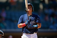 Mississippi Braves Jonathan Morales (28) at bat during a Southern League game against the Jacksonville Jumbo Shrimp on May 5, 2019 at Trustmark Park in Pearl, Mississippi.  Mississippi defeated Jacksonville 1-0 in ten innings.  (Mike Janes/Four Seam Images)