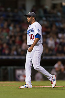 AFL West relief pitcher Jordan Sheffield (10), of the Glendale Desert Dogs and Los Angeles Dodgers organization, walks off the field during the Arizona Fall League Fall Stars game at Surprise Stadium on November 3, 2018 in Surprise, Arizona. The AFL West defeated the AFL East 7-6 . (Zachary Lucy/Four Seam Images)