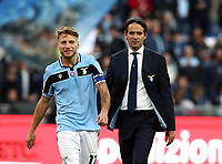 Football, Serie A: S.S. Lazio - Spal, Olympic stadium, Rome, February 2, 2020. <br /> Lazio's coach Simone Inzaghi (r) celebrates with Lazio's captain Ciro Immobile (l) after winning 5-1 the Italian Serie A football match between S.S. Lazio and Spali at Rome's Olympic stadium, Rome , on February 2, 2020. <br /> UPDATE IMAGES PRESS/Isabella Bonotto