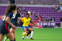 ORLANDO CITY, FL - FEBRUARY 21: Ludmila #19 of Brazil battles for the ball during a game between Brazil and USWNT at Exploria Stadium on February 21, 2021 in Orlando City, Florida.