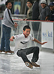 Edmond Ma (11) of A.P Giannini school get a education in the art of balancing as he flights gravity. He was part of Middle School field trip of kids of A.P. Giannini who take their had at icestaking at Kristi Yamaguchi Holiday ice rank at Embarcadero Center, San Francisco, California.
