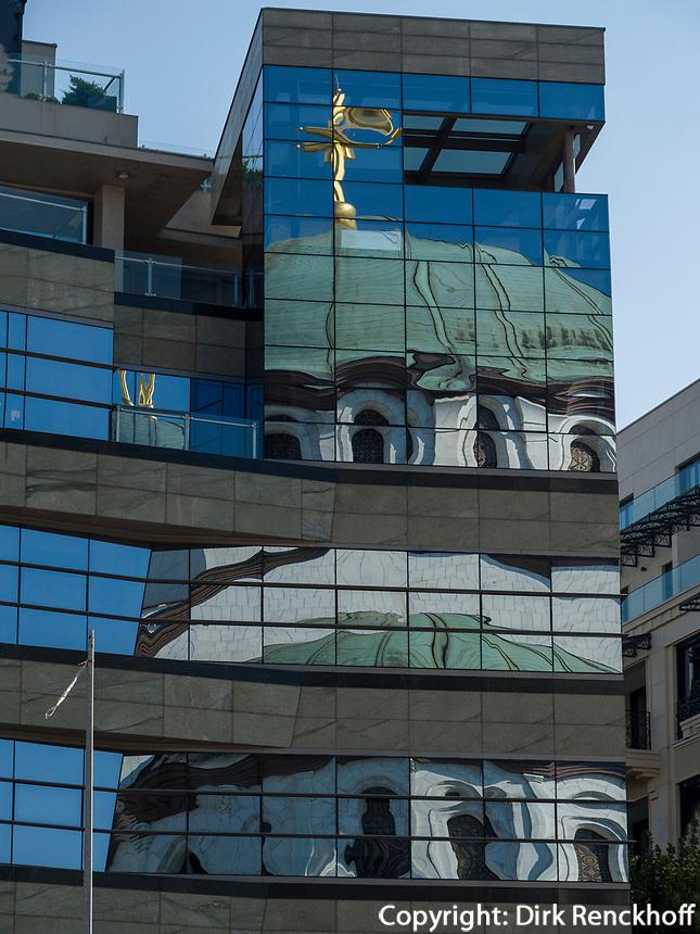Reflexion des orthodoxen Dom des heiligen Sava, Sv. Save, Belgrad, Serbien, Europa<br /> Reflexion of St. Sava, Belgrade, Serbia, Europe