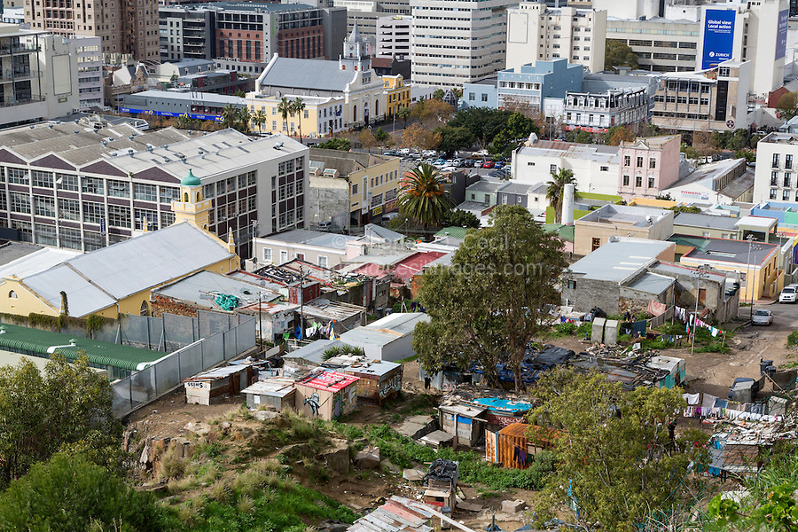 South Africa.  Cape Town from Bo-kaap Hill.  Shantytown housing at base of hill, in foreground.