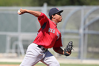 Boston Red Sox pitcher Nefi Ogando #58 during an intrasquad Instructional League game at Red Sox Minor League Training Complex in Fort Myers, Florida;  October 4, 2011.  (Mike Janes/Four Seam Images)