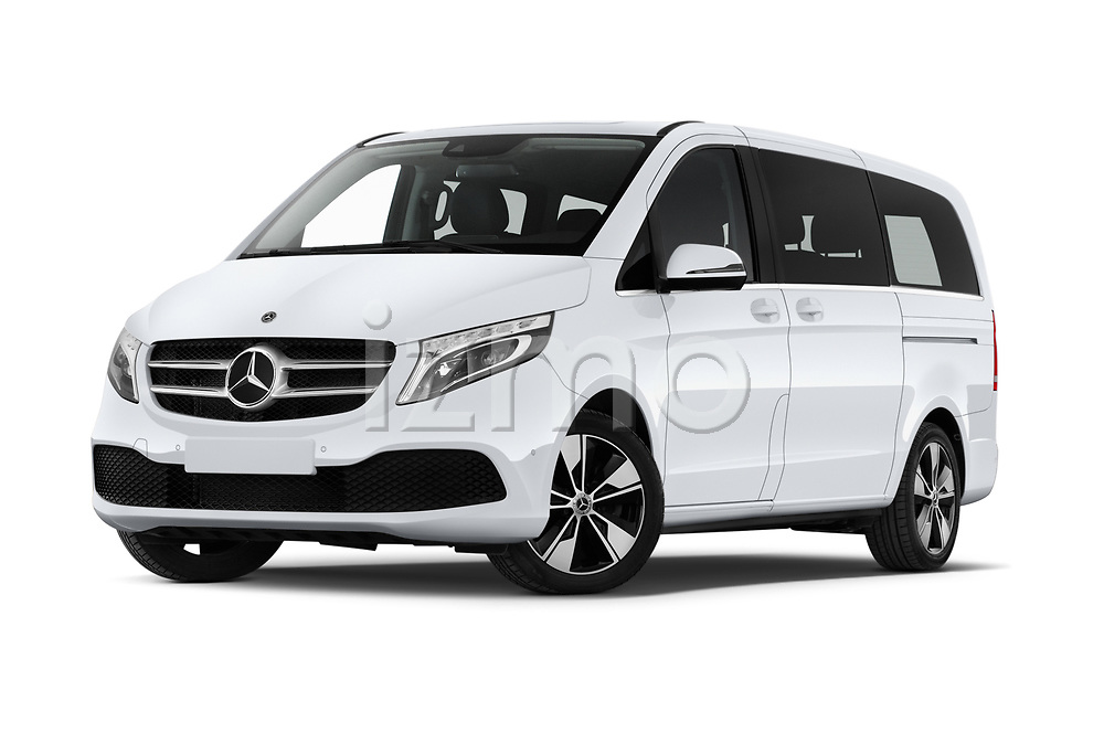 Stock pictures of low aggressive front three quarter view of a 2020 Mercedes Benz V-class Avantgarde 5 Door Mini Van